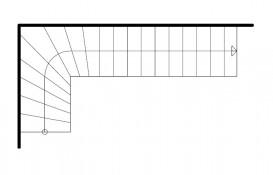 Einläufige vietelgewendelte Treppe